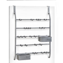 Load image into Gallery viewer, Heavy duty lynk over door or wall mount jewelry organizer rack platinum