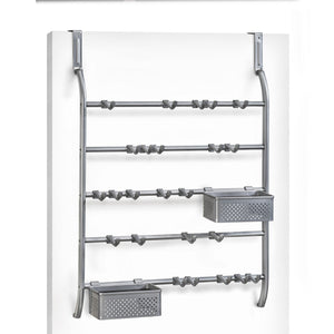 Heavy duty lynk over door or wall mount jewelry organizer rack platinum