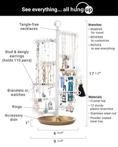 Get all hung up 12 tier extra capacity jewelry organizer holder stand tower tree with dish tray display everything necklaces earrings 110 pairs rings bracelets limited edition gold white