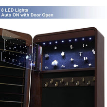Load image into Gallery viewer, Try songmics 8 leds jewelry cabinet armoire with beveled edge mirror gorgeous jewelry organizer large capacity brown patented ujjc89k