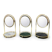 Load image into Gallery viewer, Save bonmarb storage green marble table mirror vanity mirror with 1x2x magnfication mirror with jewelry storage mirror with cosmetic storage mirror with hair accessories storage coin tray with mirror