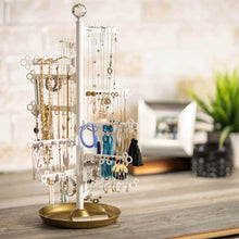 Load image into Gallery viewer, Great all hung up 12 tier extra capacity jewelry organizer holder stand tower tree with dish tray display everything necklaces earrings 110 pairs rings bracelets limited edition gold white
