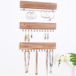 Budget friendly rhf rustic jewelry organizers necklace holder wall mounted storage rack wood metal jewelry organizers bracelets hook racks earring bar hanging jewelry organizer display home decor set of 3