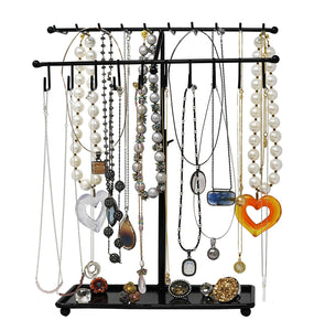 Adjustable Height Black Metal 30-Hook Necklace / Bracelet Jewelry Organizer Display Rack by Arad