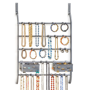 New lynk over door or wall mount jewelry organizer rack platinum
