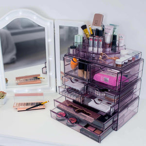 On amazon sorbus acrylic cosmetics makeup and jewelry storage case x large display sets interlocking scoop drawers to create your own specially designed makeup counter stackable and interchangeable purple 1