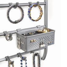 Load image into Gallery viewer, Kitchen lynk over door or wall mount jewelry organizer rack platinum