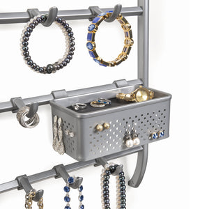 Kitchen lynk over door or wall mount jewelry organizer rack platinum