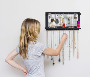 Buy now socal buttercup espresso jewelry organizer with removable bracelet rod from wooden wall mounted holder for earrings necklaces bracelets and other accessories