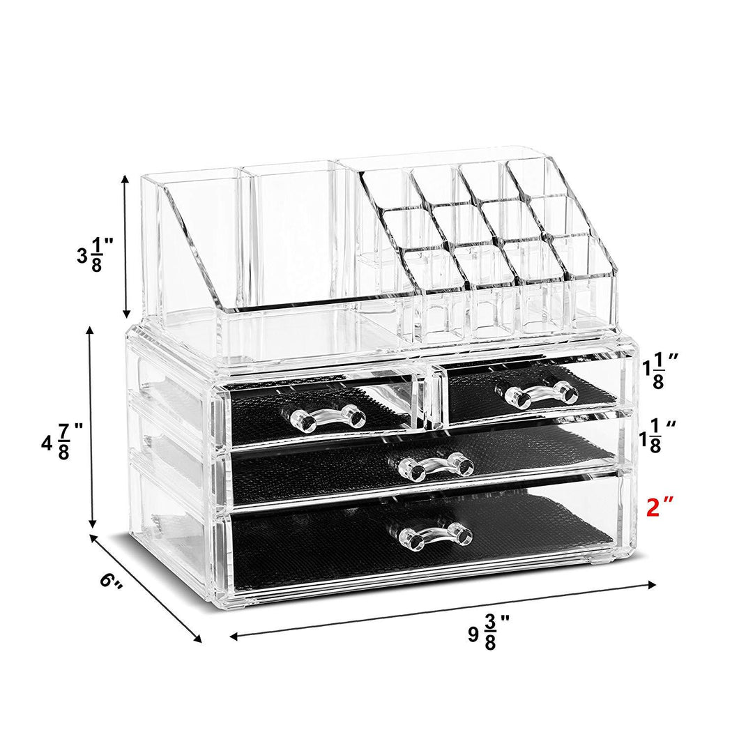 Unique Home New Design Bottom Layer Increase Fits Most Conceal  Acrylic Makeup Organizer and Cosmetic Make Up Organizer Countertop Storage Box Brush Holder Clear Jewelry Organizer Bathroom Vanity Tray