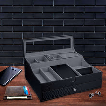 Load image into Gallery viewer, Save jewelry valet tray for men sleek dresser organizer box for storage display perfect for phone watches sunglasses jewelry wallet rings necklace more carbon fiber faux leather