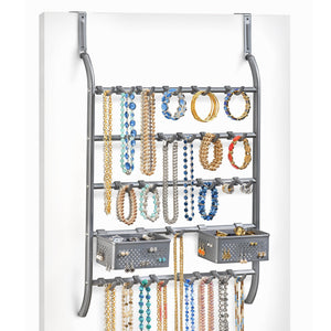 Home lynk over door or wall mount jewelry organizer rack platinum