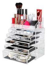 Load image into Gallery viewer, Top finnhomy 3 tier acrylic makeup cosmetic jewelry diamond organizer 3 piece set counter storage case large display drawer box bathroom vanity case for lipstick brush nail polish clear