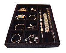 Load image into Gallery viewer, Best seller  jewelry drawer organizer wood and velvet tray for jewels rings necklaces bracelets 10 compartments protects jewelry drawer insertable stackable and durable made in usa black 15x12x2