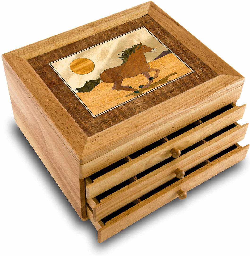 Shop marqart horse wood art jewelry box gift handmade usa unmatched quality unique no two are the same original work of wood art 7016 mustang 3 drawer