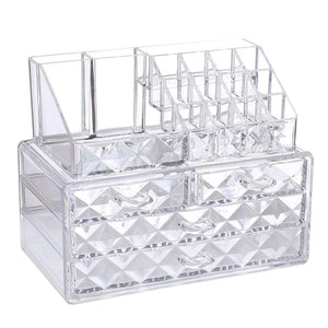 #COMS8246 Acrylic Diamond Pattern Makeup & Jewelry Organizer Two Pieces Set