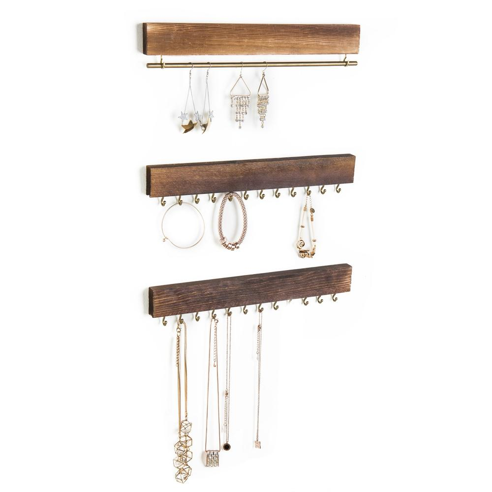 Rustic Gold Wood Jewelry Racks, Set of 3