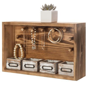 Natural Wood Jewelry Organizer Shelf & Mini Drawers