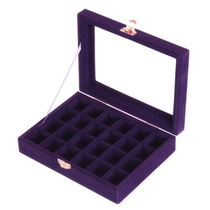 Jewelry Box, Jewelry Tray Holder Storage Jewelry Organizer 24 Grids Ring Ear Studs Jewelry Box