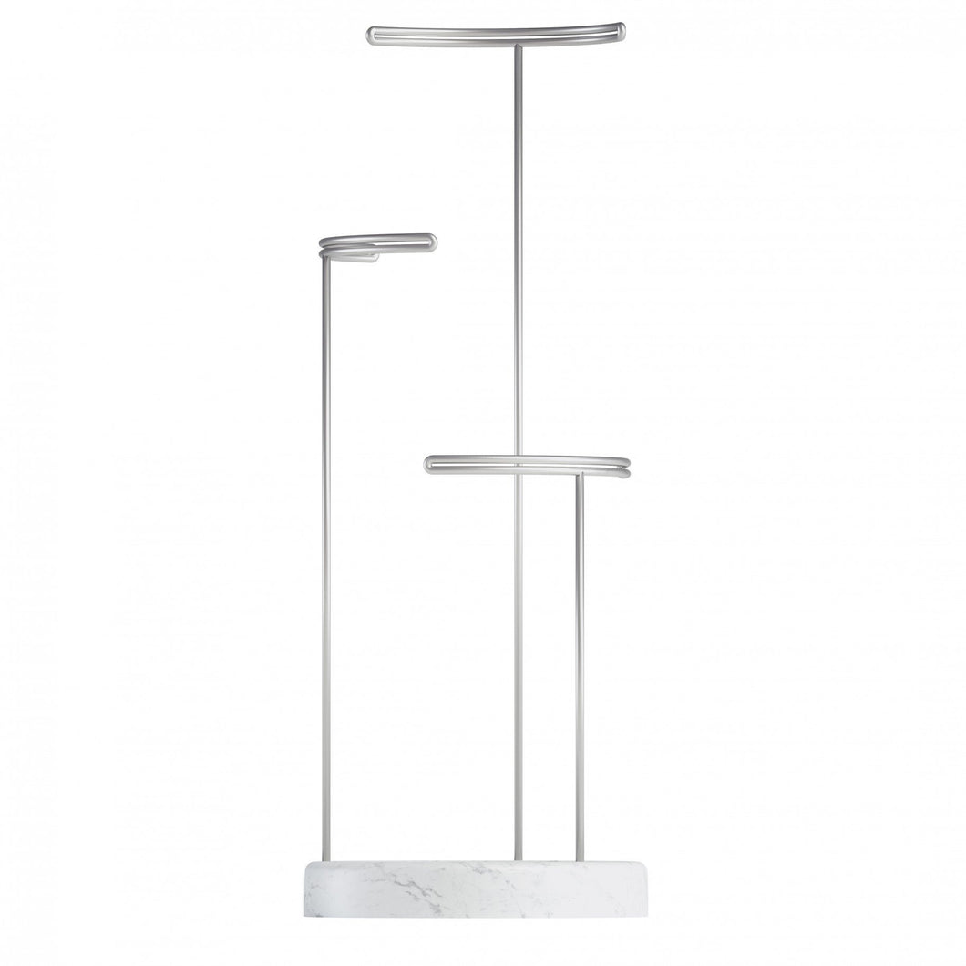 TESORA JEWELRY STAND - Marble, Nickel and White