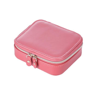 JTO New 3 Colors Portable Travel Small Jewelry Box Storage Organizer Box Velvet Leather Jewelry Box With Zipper for Women