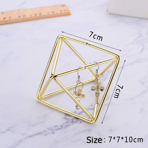 JTO Ins Gold Plated Geometric Bracelet Long Earring Display Stand Hanging Rack Pendant Necklace Jewelry Organizer Holder Home Decor