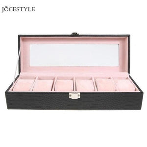 Fashion 6 Grid PU Watch Box Case Jewelry Watch Display Case Storage Box Rectangle Jewelry Organizer Holder Accessories