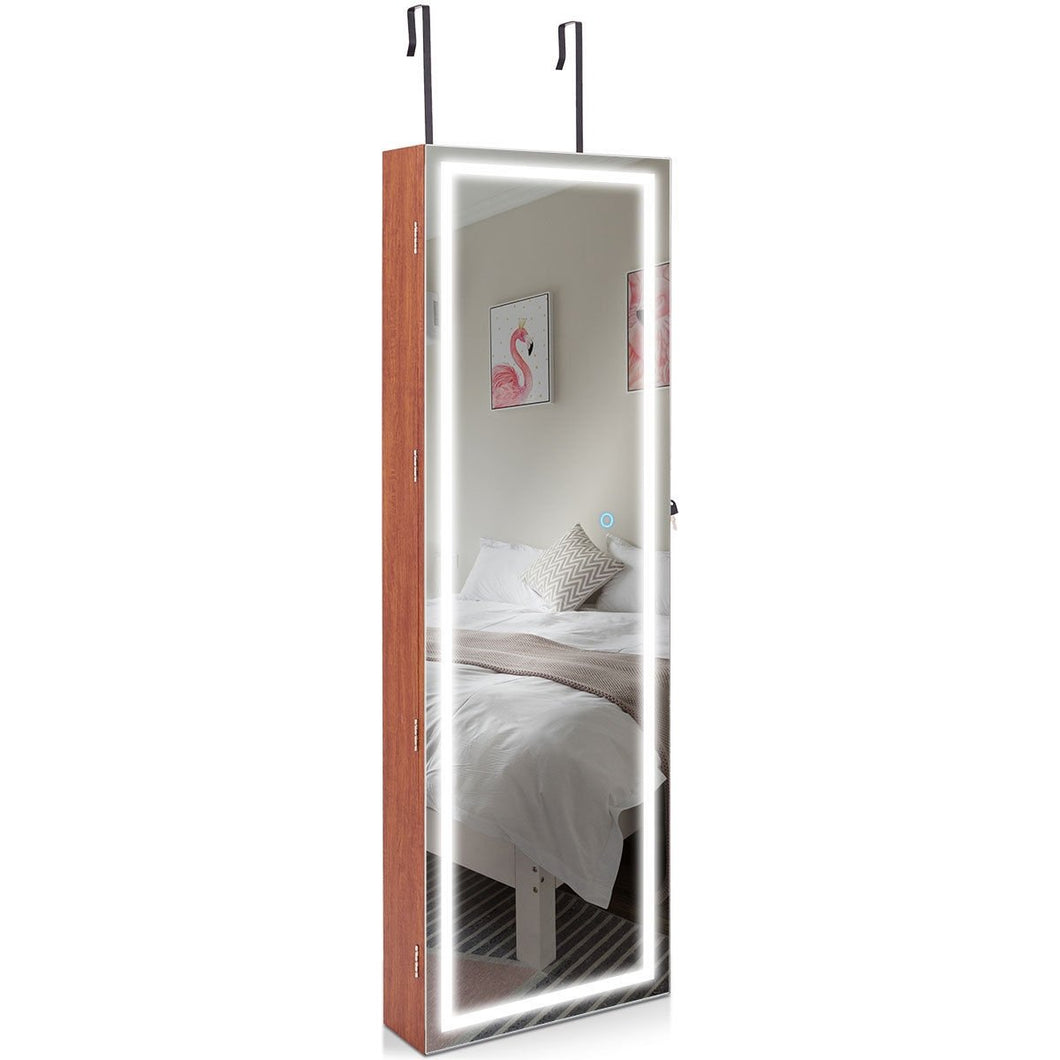 Door Wall Mount Touch Screen Mirrored Jewelry Cabinet-Brown