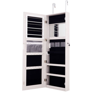 Lockable Storage Jewelry Cabinet  with Frameless Mirror-White