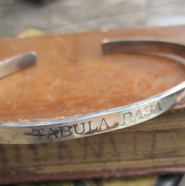 WDTS Sheffield Silver - Hand Hammered Cuff -TABULA RASA - Mixed Finish