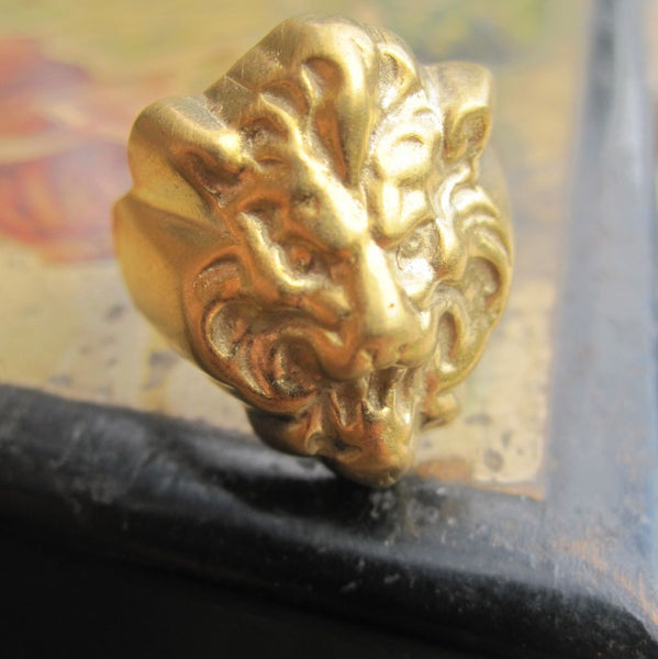 WDTS Sheffield Silver - Lion Head Ring - Gold