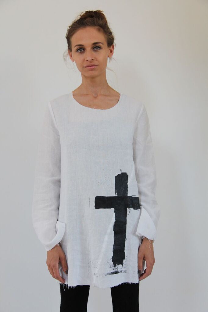 Window Dressing The Soul- TDR Cross Linen Top- white