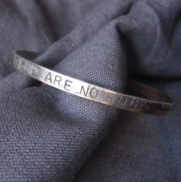 WDTS Sheffield Silver - Hand Hammered Cuff - THERE ARE NO RULES - Mixed Finish