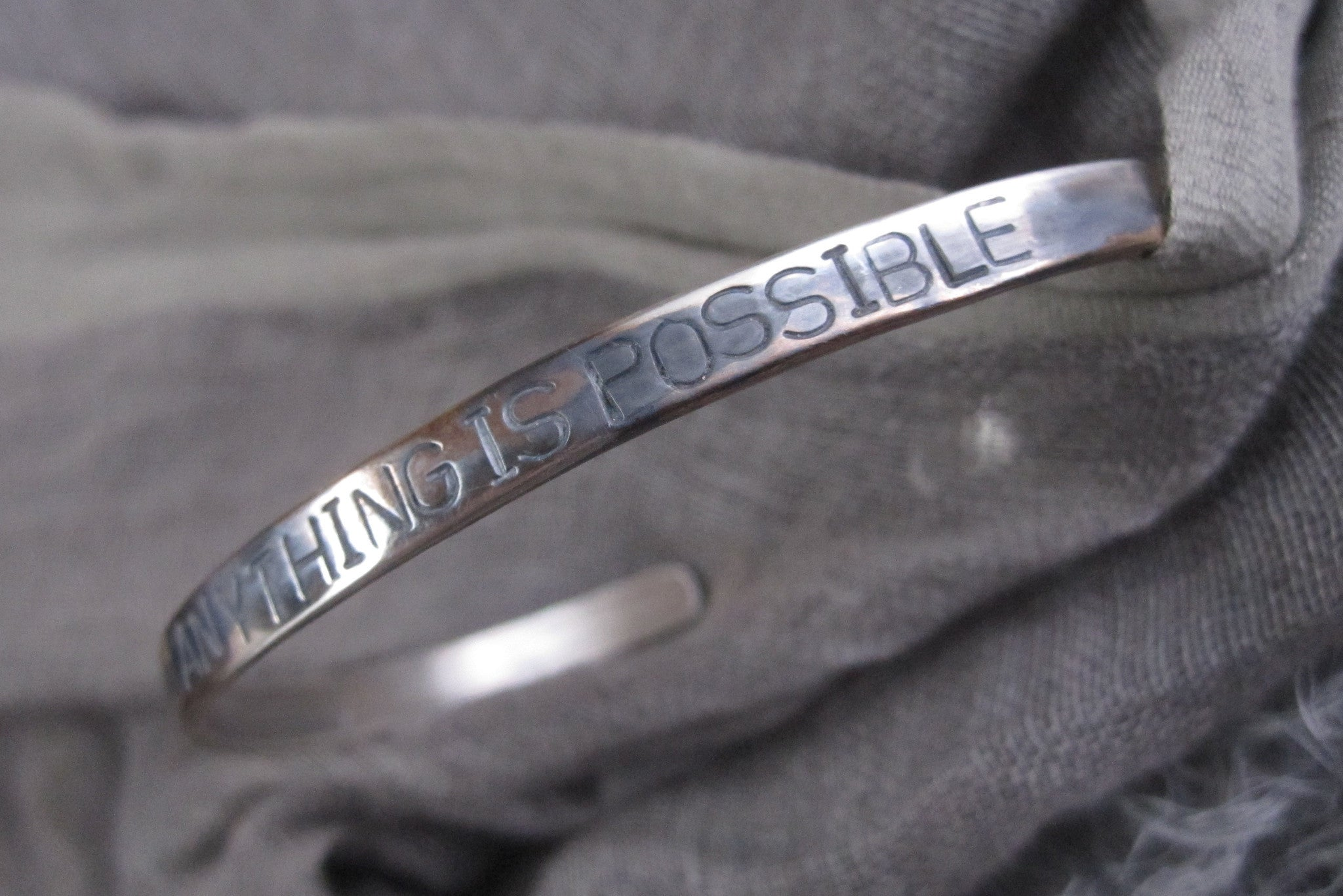 WDTS Sheffield Silver - Hand Hammered Cuff - ANYTHING IS POSSIBLE - Mixed Finishes