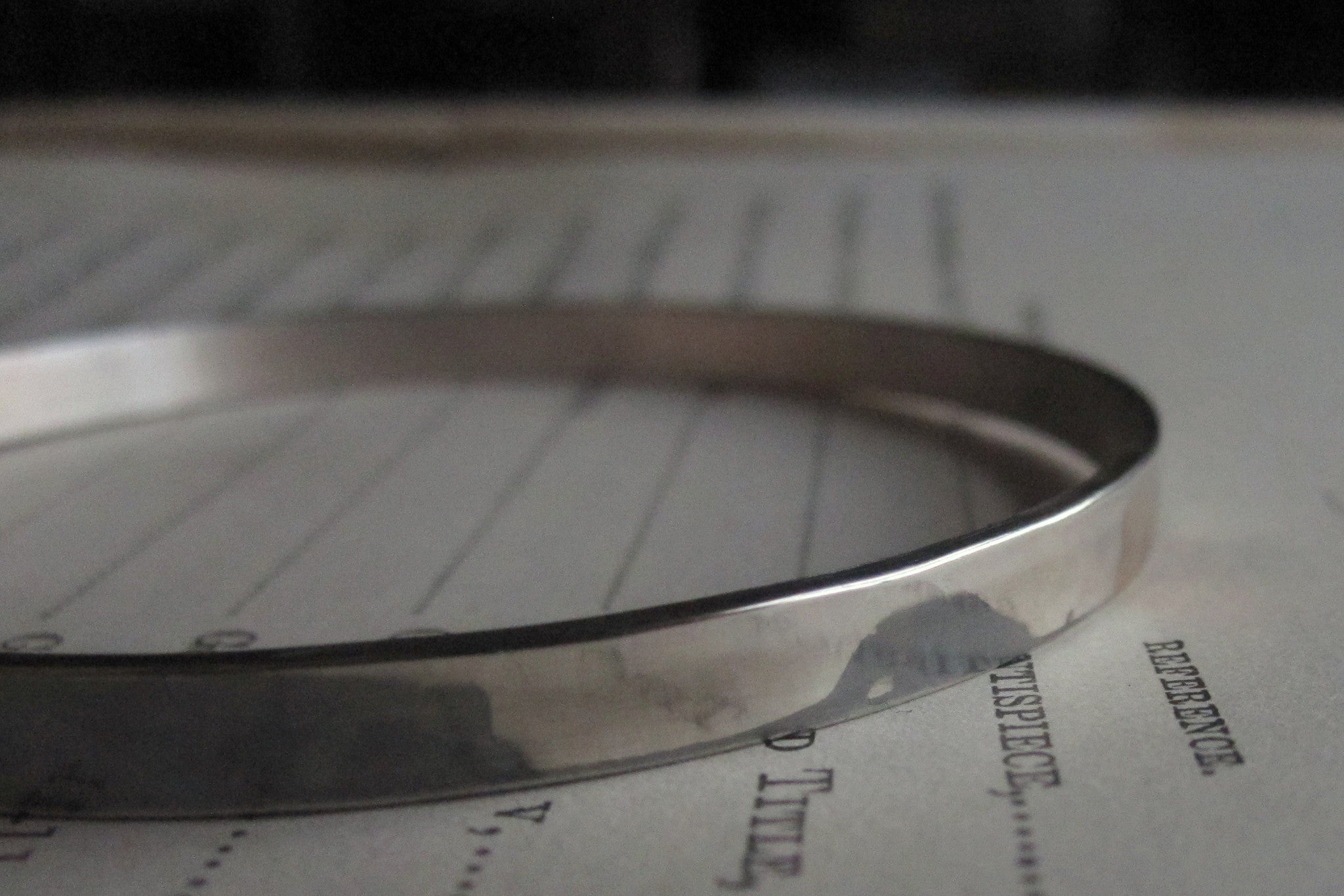 WDTS Sheffield Silver - Hand Hammered Bangle - [BLANK] - Mixed Finish