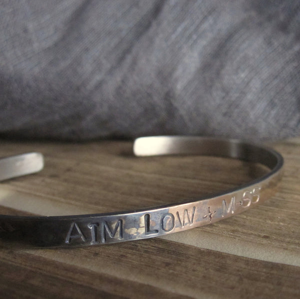 WDTS Sheffield Silver - Hand Hammered Cuff - AIM LOW + M-SS - Mixed Finish