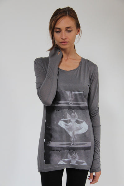 Window Dressing The Soul- Annabelle Long Sleeve Grey T-Shirt
