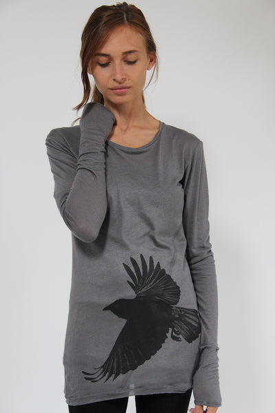 Window Dressing The Soul- Crow Long Sleeve Grey T-Shirt