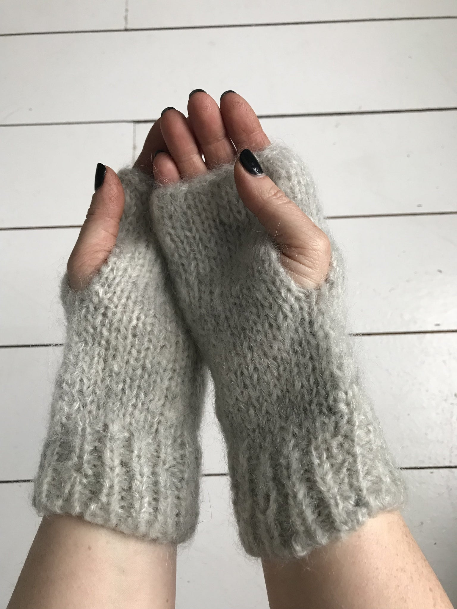 WDTS - Arm warmers in Light Grey Mohair Wool