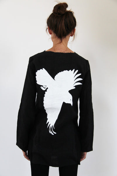 WDTS Frayed Edge Linen Top - Black With Crow Print