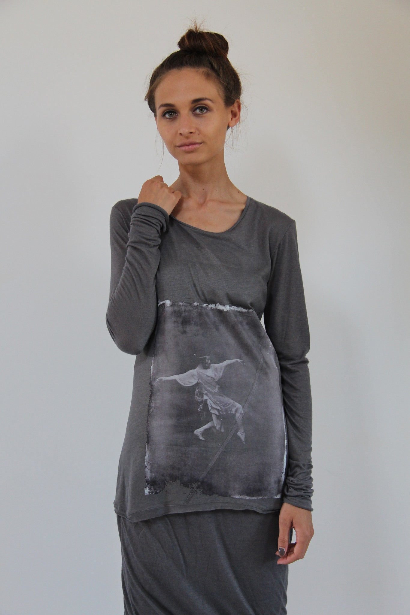 Window Dressing The Soul- Tiny Dancer Long Sleeve Grey T-Shirt
