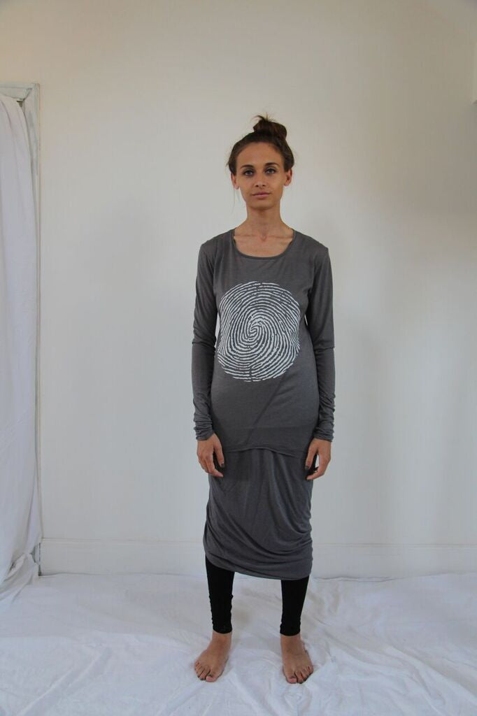 Window Dressing The Soul- Thumb Print Long Sleeve Grey T-Shirt
