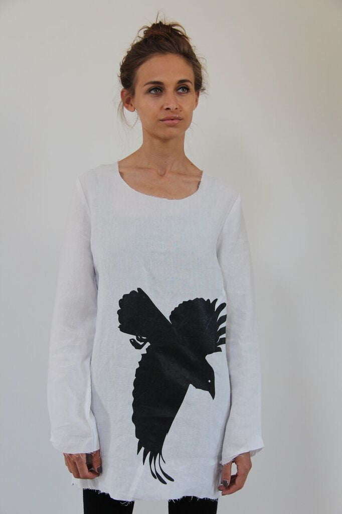Window Dressing The Soul- Crow Linen Top- white
