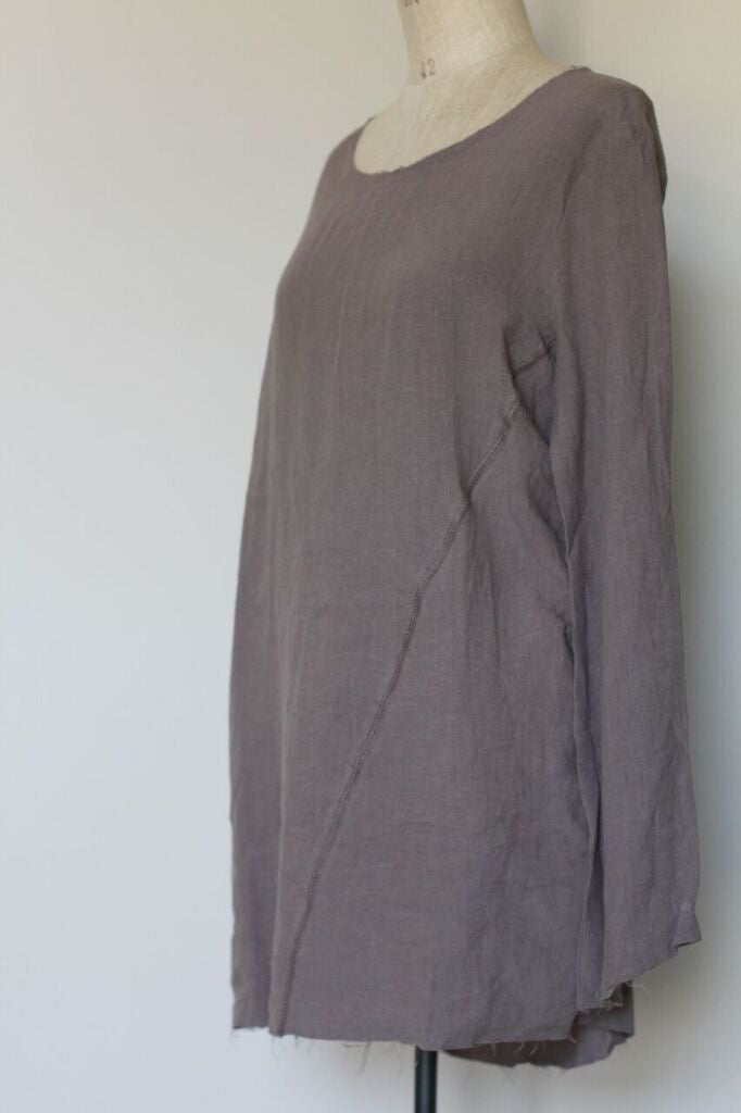 frayed edge linen top- stone