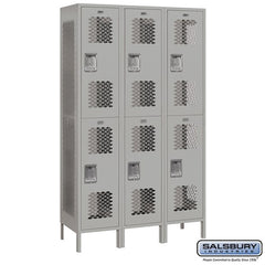 "Salsbury 15"" Wide Double Tier Vented Metal Locker - 3 Wide"