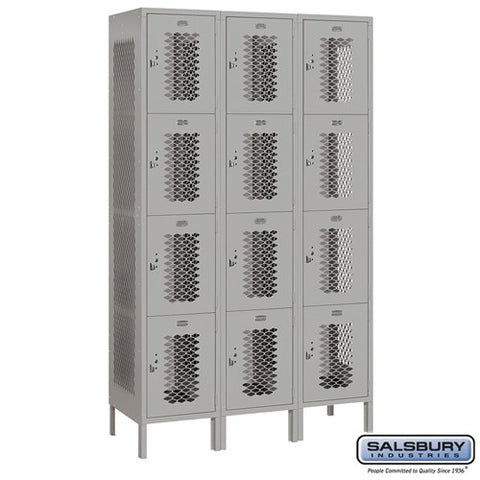 "Salsbury 15"" Wide Four Tier Vented Metal Locker - 3 Wide"