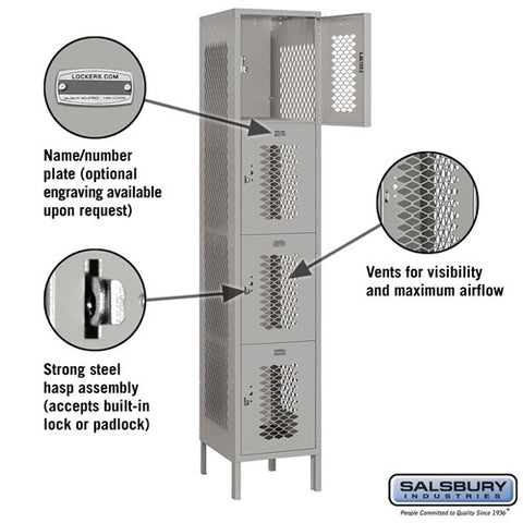 "Salsbury 15"" Wide Four Tier Vented Metal Locker - 1 Wide"