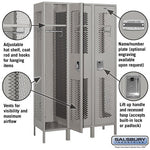 "Salsbury 15"" Wide Single Tier Vented Metal Locker - 3 Wide"