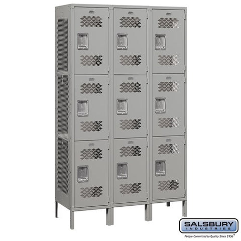 "Salsbury 15"" Wide Triple Tier Vented Metal Locker - 3 Wide"