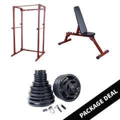 Body Solid Best Fitness Power Rack with FID Bench and Barbell Package